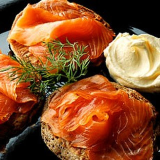 Buckwheat Blinis with Smoked Salmon, Creme Fraiche and Dill.