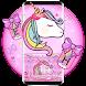 Lovely Cuteness Pink Unicorn Keyboard Theme
