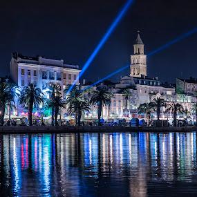 Split Croatia by Davor Strenja - Buildings & Architecture Public & Historical ( blu, night photography, croatia, night, split, long exposure, nightscape, city )