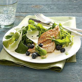 Arugula and Blueberry Salad With Seared Red Snapper.
