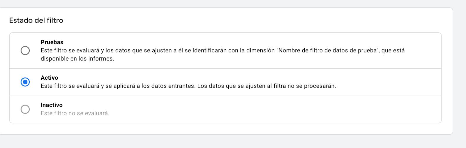 Activar Filtro de Google Analytics 4