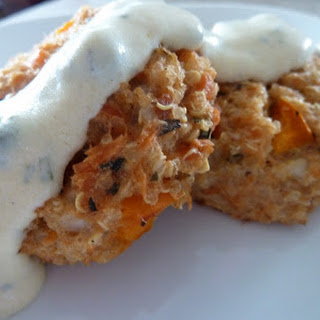 Salmon Quinoa Cakes With Tarragon Mustard Sauce.