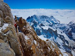 Photo: David climbing a hand crack on Fitz Roy, Patagonia
