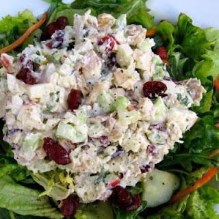 Healthy Chicken Salad with Apples & Cranberries.