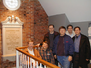 Photo: 2001 Holiday Eyeball QSO  -   Upstairs at W1AW. L-R: W2SQ, K1AR, W2PA, K1DG, W2JU, K1RT