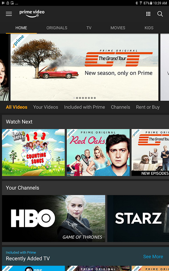 Screenshots of Amazon Prime Video for iPhone
