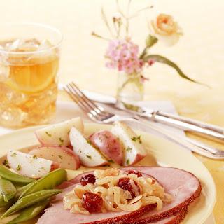 Glazed Ham with Dried Cherry Caramelized Onions.