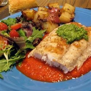Grilled Mahi Mahi with Roasted Pepper Sauce and Cilantro Pesto
