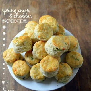 Spring Onion and Cheddar Scones with Bacon Butter.