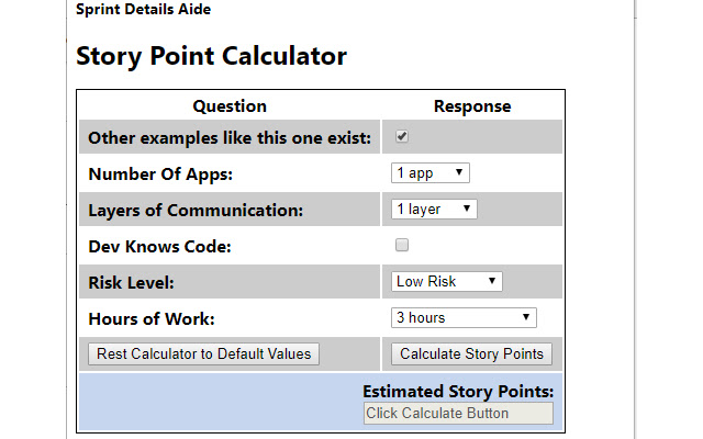 Story Point Calculator