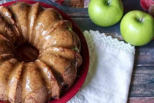 "Apple Spice Cake with Sea Salt Caramel Glaze ""Apples and caramel are..."