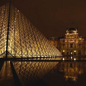 Musee du Louvre by Jerzy Szablowski - Travel Locations Landmarks ( paris, louvre, pwclandmarks, france, night, museum )