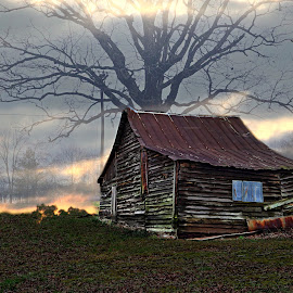 Trump Country by JEFFREY LORBER - Buildings & Architecture Decaying & Abandoned ( country, abandoned building, cabin, decay, lorberphoto, american flag, fog )
