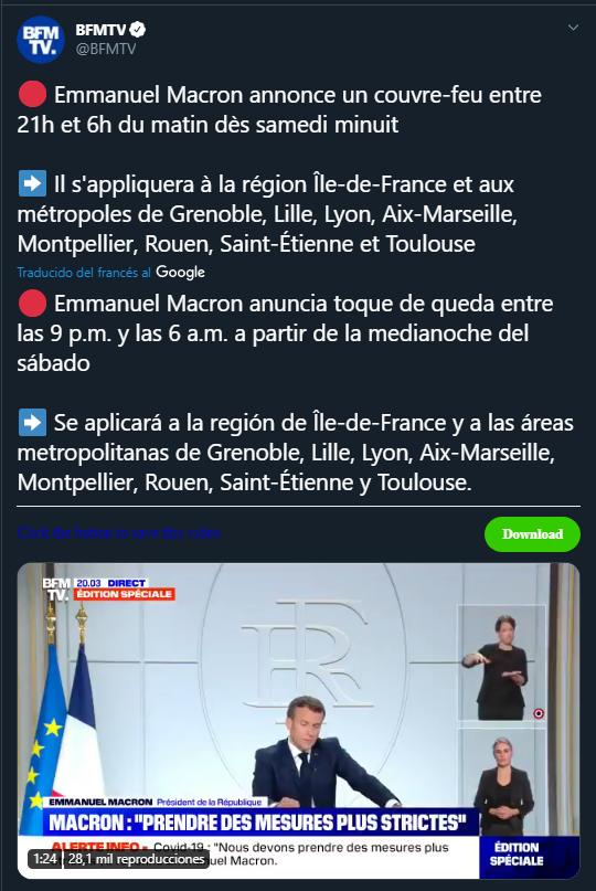 Imagen de Twitter sobre Emmanuel Macron anuncia toque de queda en Francia