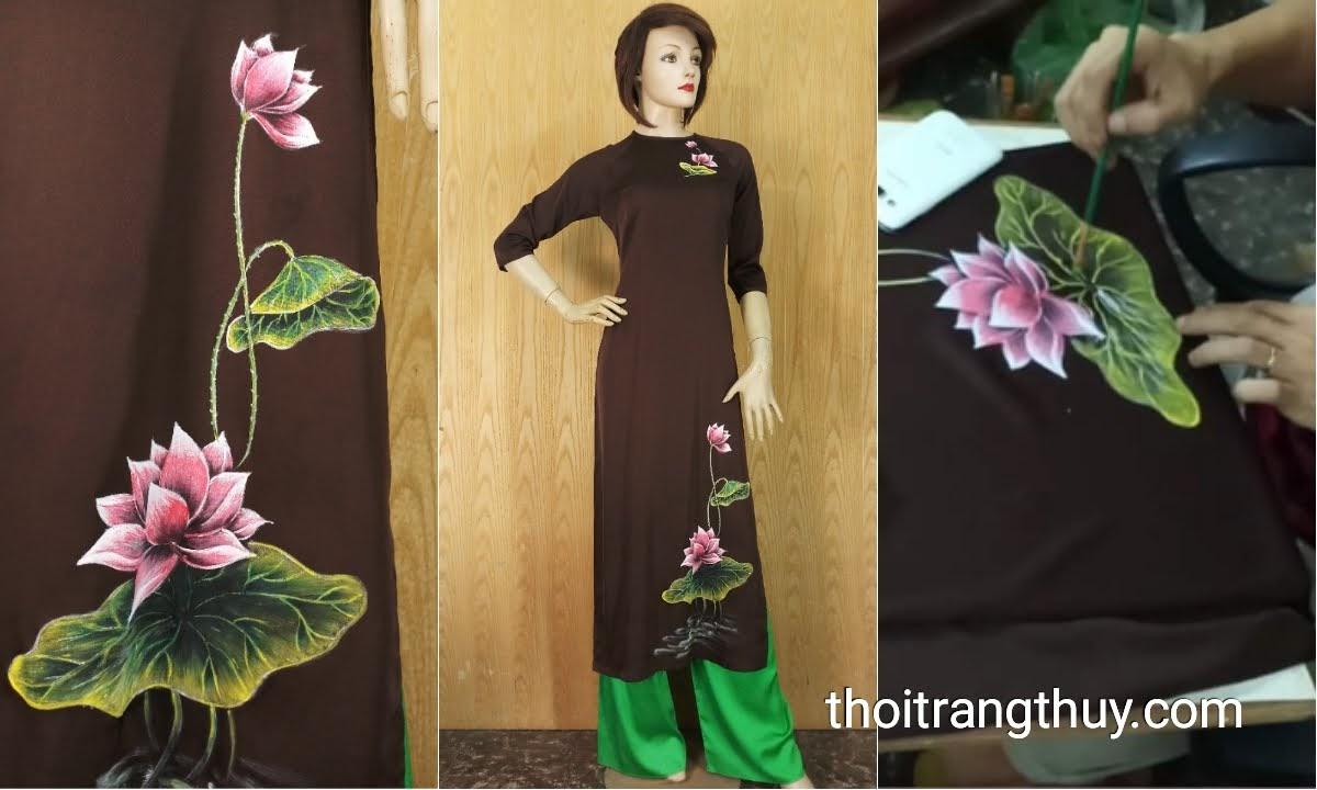 Áo dài vẽ hoa sen thủ công trên vải lụa V637 Thời Trang Thủy