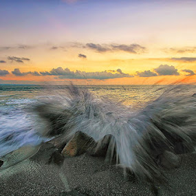 High Risk by Agoes Antara - Landscapes Waterscapes ( bali, waterscape, sunset, wave, ocean, sunrise, beach, motion, landscape )