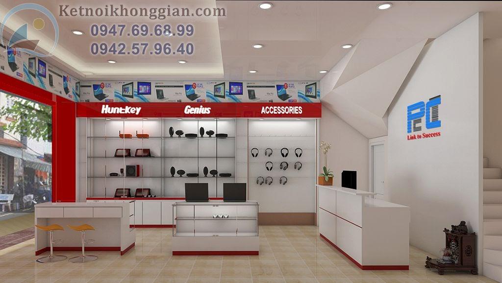 thiết kế cửa hàng máy tính hợp lý, trẻ trung