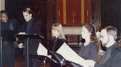 Photo: Nov. 1994: Rollins College; Mannerist Mania concert performed for the statewide American Choral Directors Association. Jeff Ames, David Childs, Solveig Fretheim, Becky Lister, Tim Watkins.
