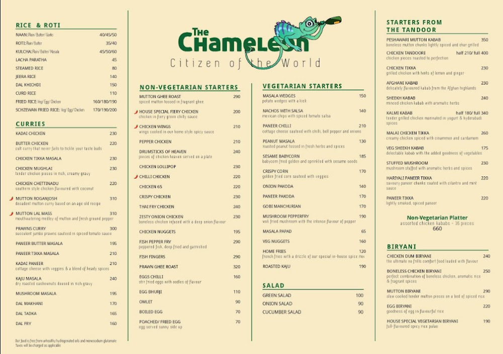 The Chameleon menu 1