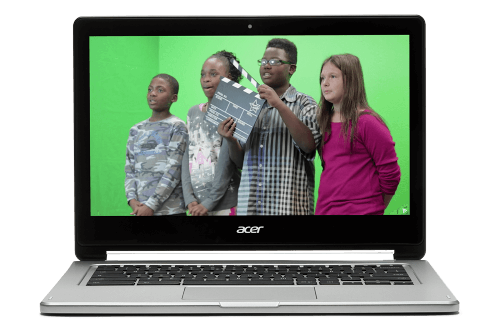 If your class travels by green screen You Chromebook. Image of a Chromebook showing kids in front of a green screen.