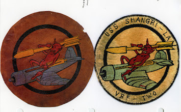 Photo: VBF-2 insignias. Established at NAS PAsco on 2 January 1945 and disestablished on 9 November 1945.Insignia designed by Ens Newton Kline. Robert H. Anderson (left) and CAPT Jim Daniels (right)