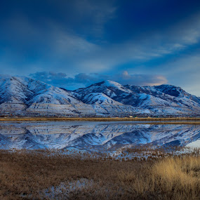 Winter Reflection by Brandon Montrone - Landscapes Mountains & Hills ( water, reflection, mountain, blue hour, art, fine art, reflections, scenic, landscape, dusk, mirror, field, winter, sunset, snow, evening, panoramic,  )