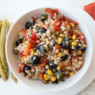 Barley Roasted Vegetable Skillet Salad (Mediterranean Style)