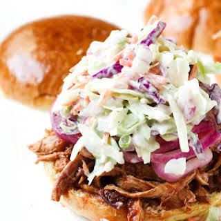Cherry BBQ Chicken Sandwiches with Pickled Red Onions + Coleslaw.