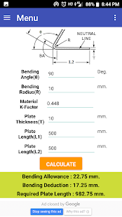 Sheet Bending Calculator – Apps on Google Play