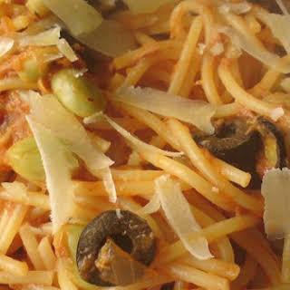 Tuna Spaghetti With Fava Beans.