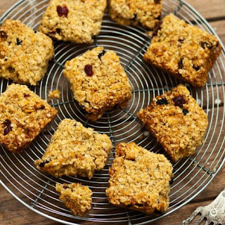 Golden Flapjacks With Mango, Sour Cherries And Coconut.