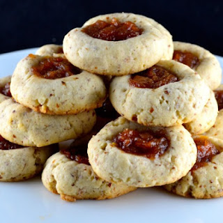 Chewy Almond Thumbprint Cookies with Spiced Pear Jam (Vegan)