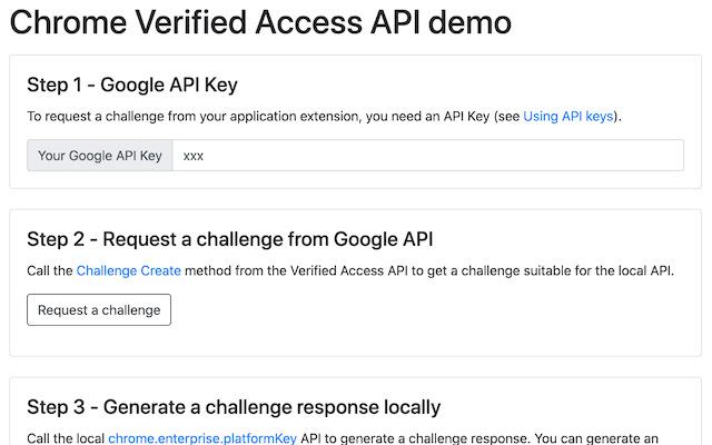 Chrome Verified Access API demo