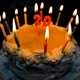 Happy 20th by Bill      (THECREOS) Davis - Food & Drink Candy & Dessert ( #cake #happybirthday #birthday #birthdaycake #candles )
