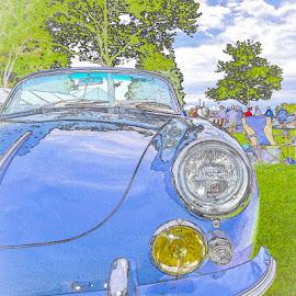Porsche Poster by Bill Gordon - Typography Captioned Photos ( concours d'elégance, blue, greenwich ct, poschue )