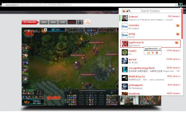 League Streams: Stream Browser