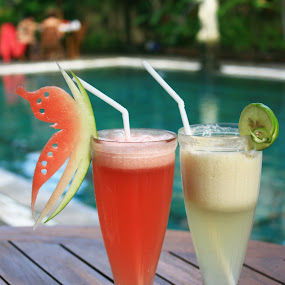Juices by Beng Lim - Food & Drink Alcohol & Drinks ( water, fruit, juicy, decoration, refreshment, lame, taste, banana, red, melon, beverage, cold, juice, drink, glass, cocktail, summer, freshness, pink, watermelon, fruity )