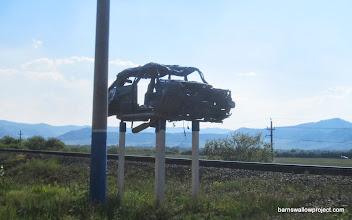 Photo: A Warning? Roadside, along the Selenga River