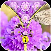 Purple Flower Zipper Locker