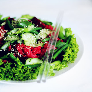 Pink Rice Summer Salad With Greens And Mustard Miso Dressing.
