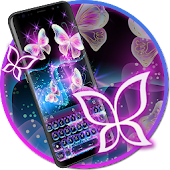 Glitter Neon Purple Butterfly Keyboard Theme
