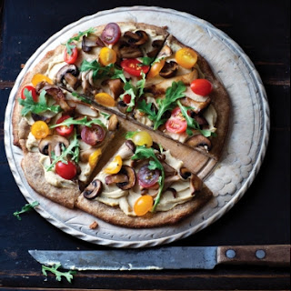 Homemade Hummus Pizza with Arugula and Wild Mushrooms