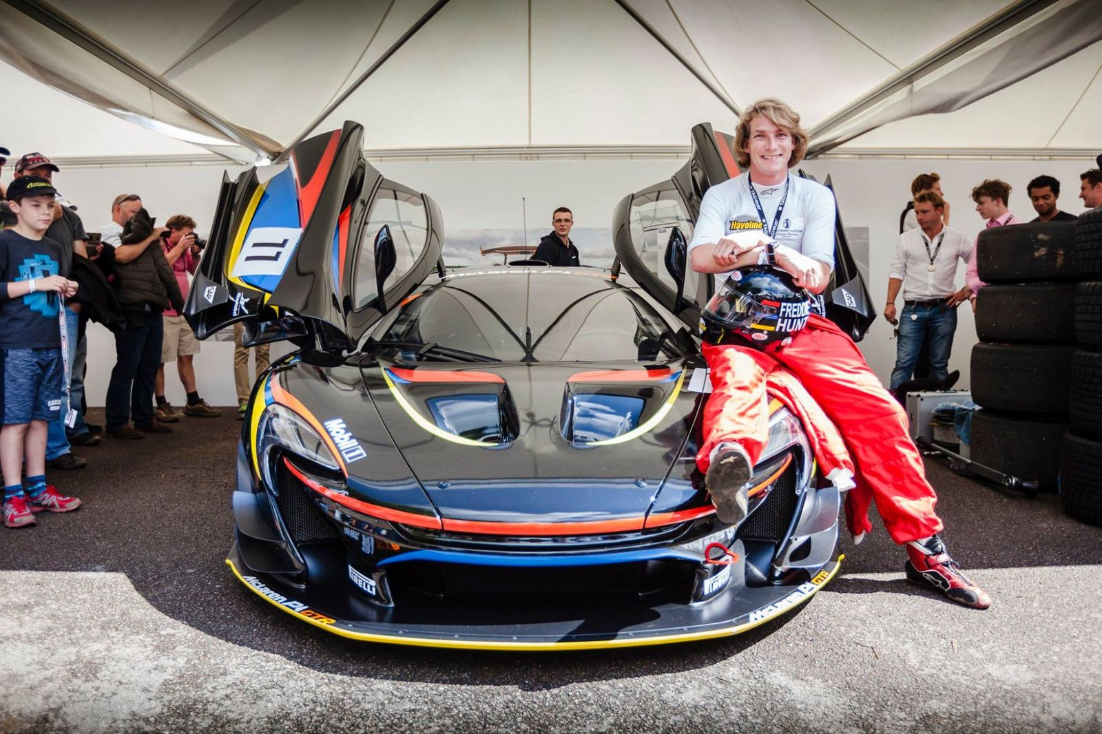 To mark 40 years since James Hunt won the F1 World Championship, McLaren produced a P1 GTR in the familiar black with red, yellow and blue stripes, a livery Hunt originally based on his Wellington College colours. Credit: DriveMag