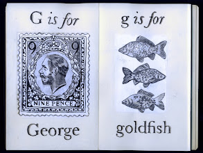 Photo: Philippa Robbins - folding book primer - G is for George; g is for goldfish