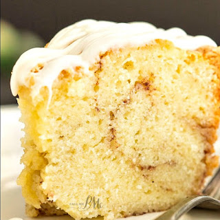 Homemade Sour Cream Cinnamon Roll Pound Cake Recipe With Cream Cheese Frosting.