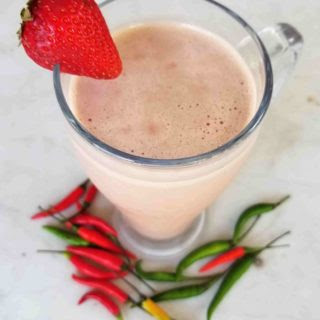 Thai Chili Chocolate Strawberry Protein Smoothie- A Ménage à Trois of Sensual Chocolate Strawberry And Peppers to Help Spice Things Up.