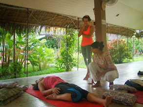 Photo: Jeenal teaching Rebacca Paryankasana