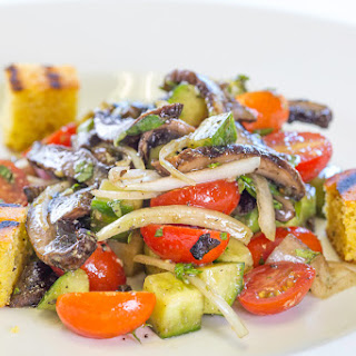 Cornbread and Grilled Portabella Panzanella Salad