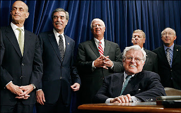 Photo: WASHINGTON - MAY 17:  US. Senator Ted Kennedy (D-MA) (foreground) enjoys a laugh with (L-R) Homeland Security Secretary Michael Chertoff, Commerce Secretary Carlos Gutierrez, Sen. Saxby Chambliss (R-GA), Sen. Johnny Isakson (R-GA) and Sen. Ken Salazar (D-CO) during a press conference to announce a compromise on immigration legislation between the White House and the Senate at the US Captiol May 17, 2007 in Washington, DC. Kennedy was key in negotiating the compromise language in the bill, which President George W. Bush is expected to sign.  (Photo by Chip Somodevilla/Getty Images) *** Local Caption *** Michael Chertoff;Carlos Gutierrez;Saxby Chambliss;Johnny Isakson;Ken Salazar;Ted Kennedy