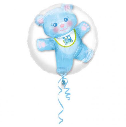 Dubbelballong Nalle blå